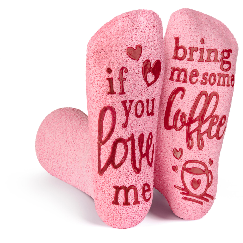 Pink Fuzzy Coffee Socks