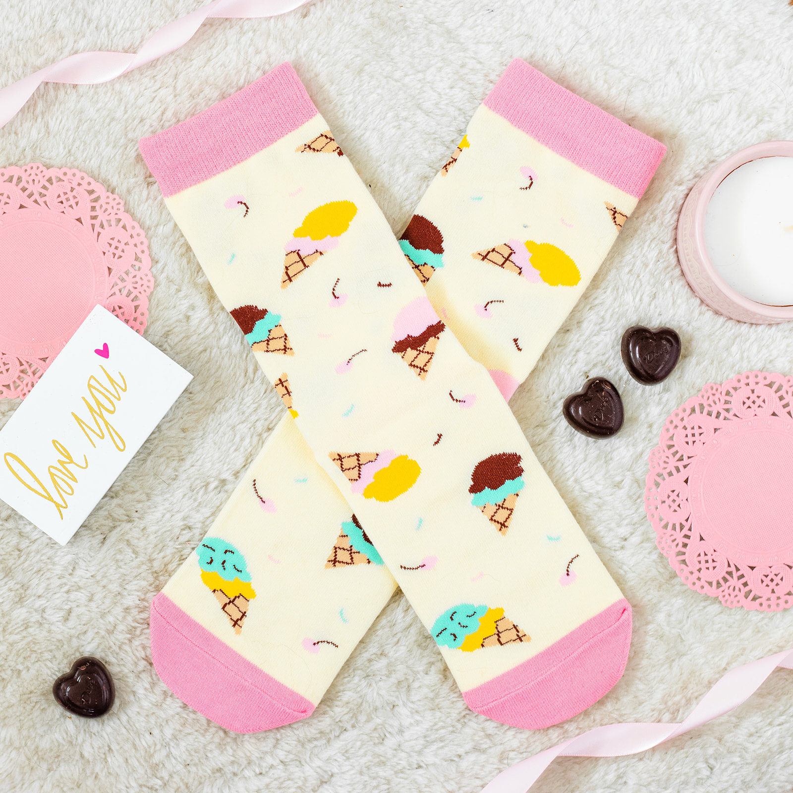 lavley funny womens novelty ice cream socks