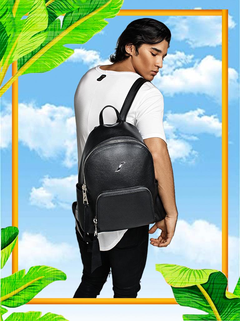 Leather Backpack For Men | Black Large Men's Leather Book Bag/Backpack| LEORICCI