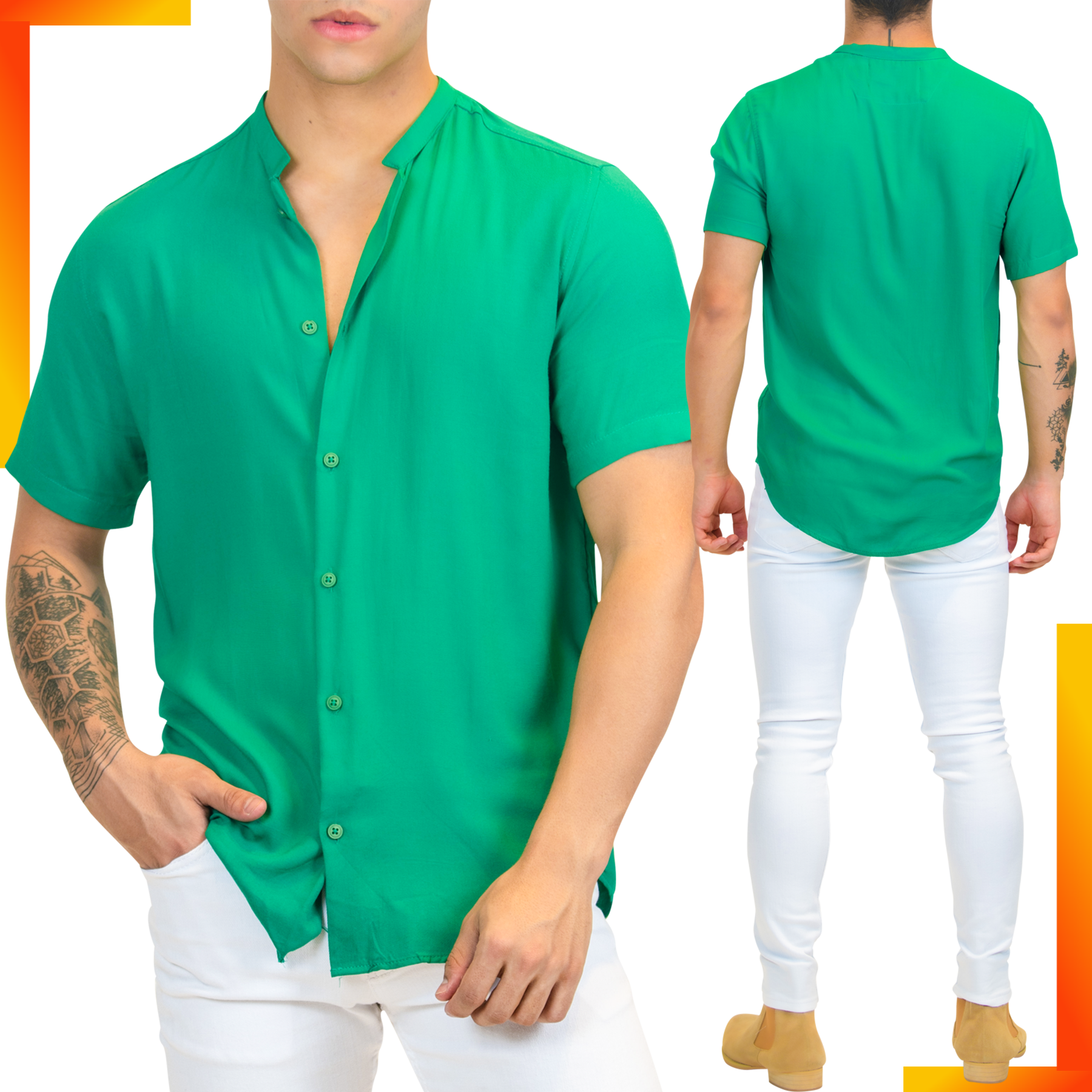 Green Cotton Short-Sleeve Men's Shirt | Men's Summer Short Sleeve Shirt | LEORICCI