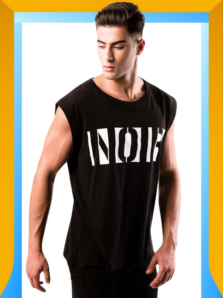Men's Black Tank Top | Workout Black Tank Top for Men : NOIR | LEORICCI