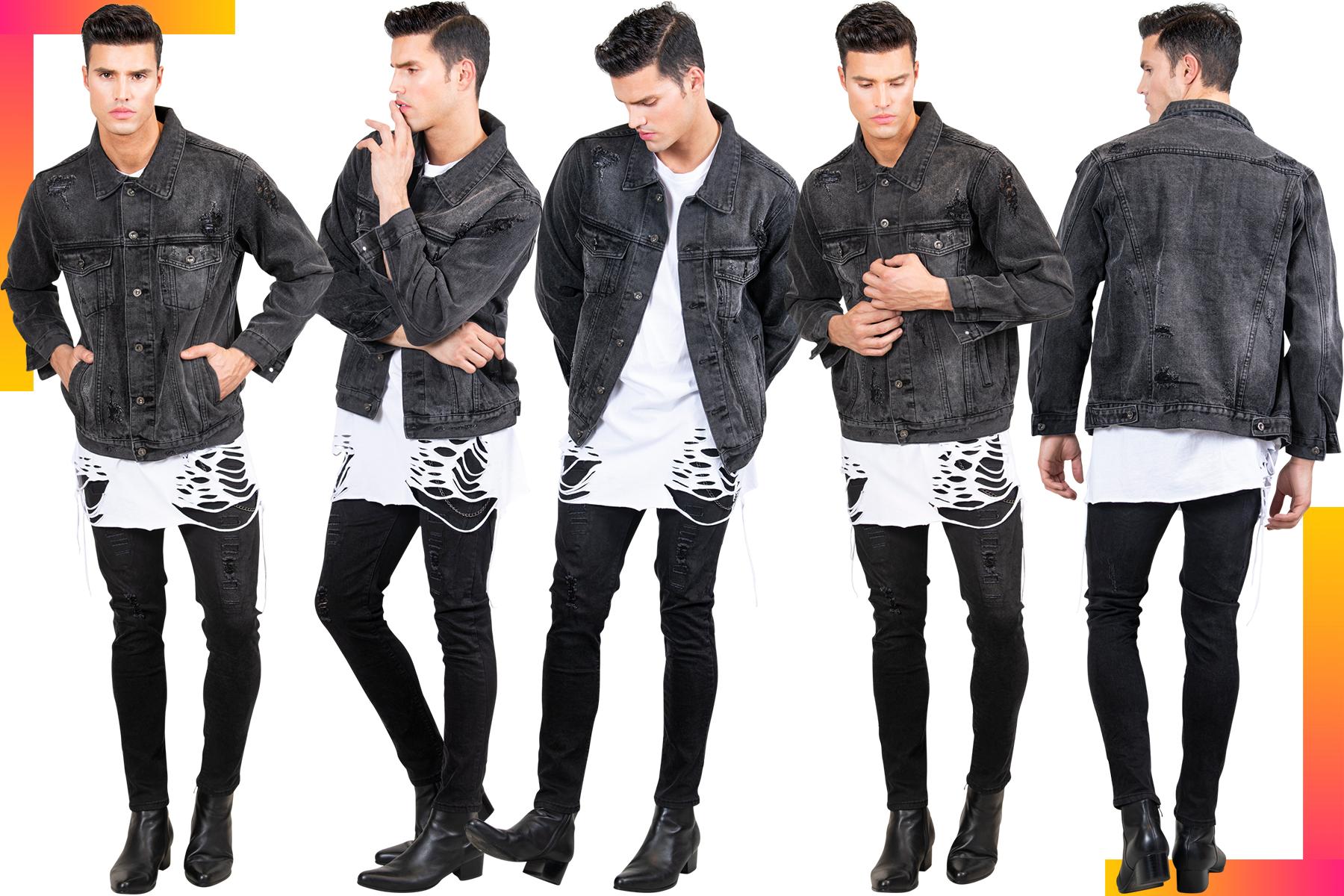 Black Denim Distressed Denim Jacket for Men   Men's Jean Jacket   LEORICCI