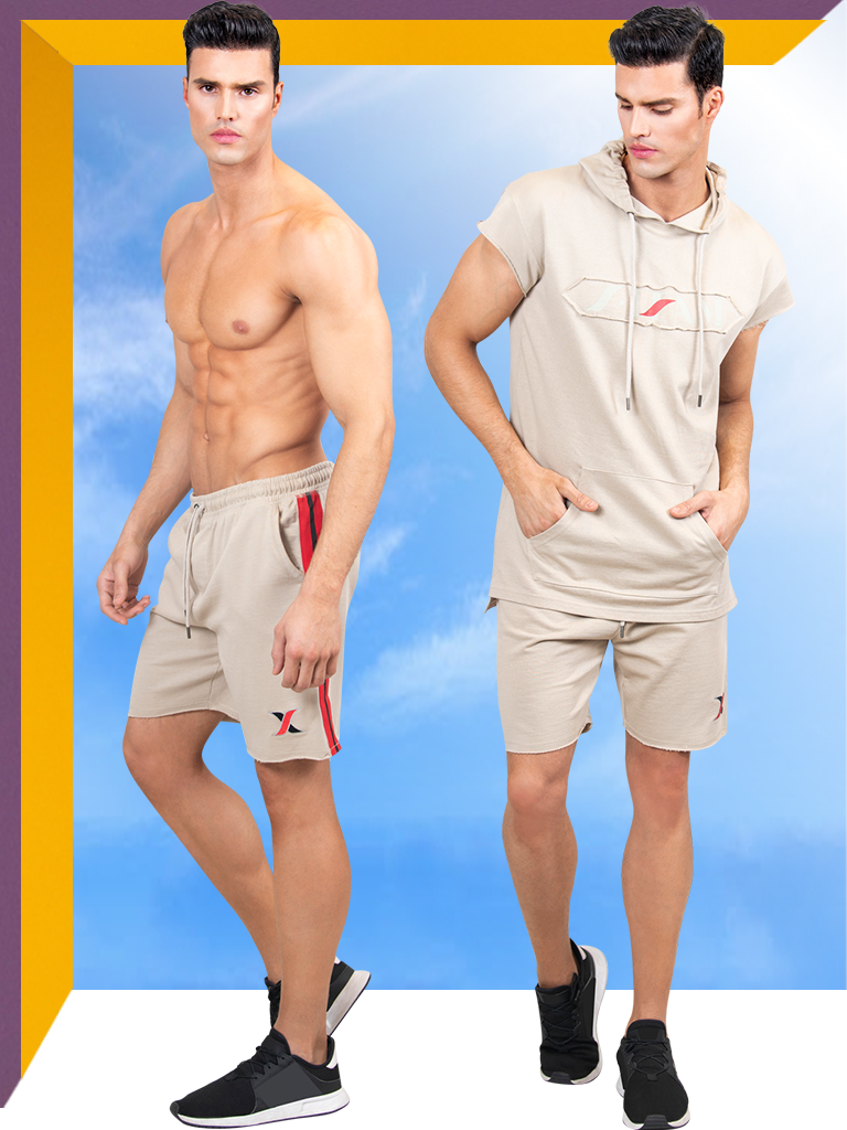 2 Piece Gym Set for Men | Beige Sport Hoodie & Shorts for Men