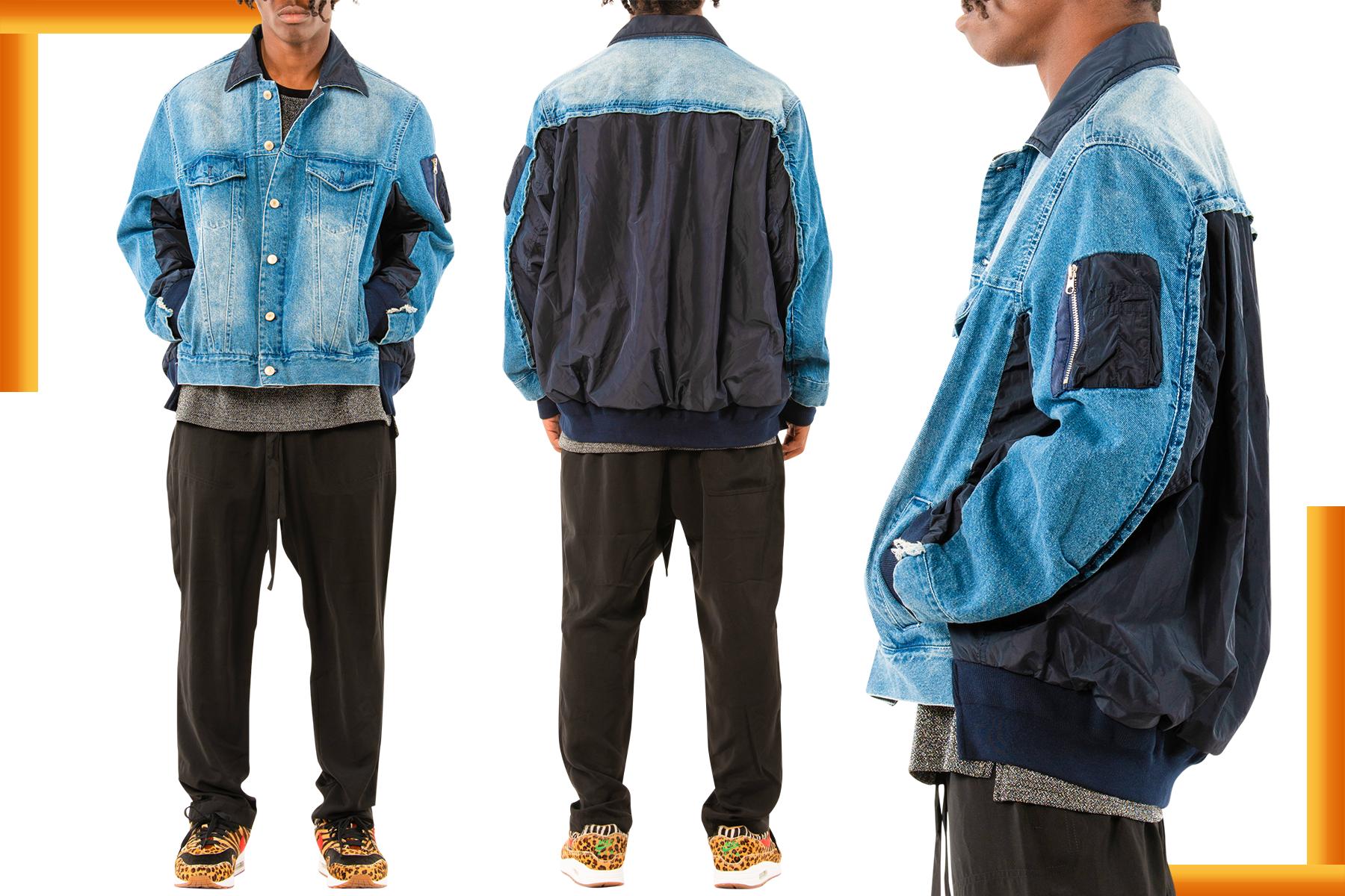 Blue Denim Bomber Jacket for Men   Men's Jean Jacket   LEORICCI