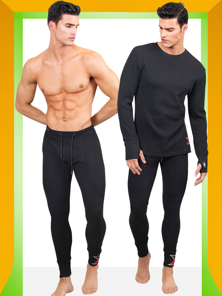 Shop Black cotton waffle Long-sleeve Thermal T-shirt with Matching Long Johns Men's Leggings - Men's Thermal Underwear & Long Johns 2 Piece Set