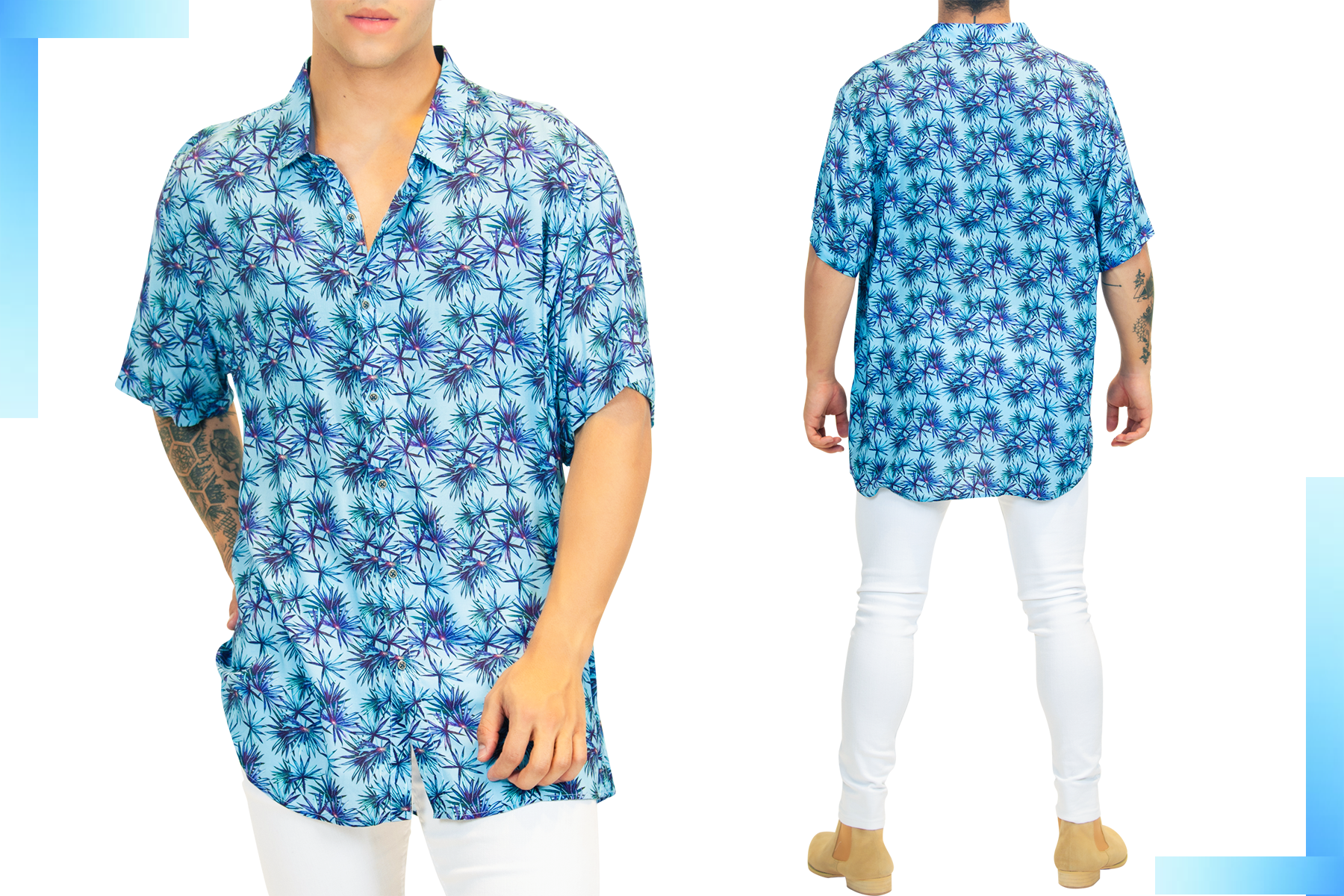 Men's Short-Sleeve Shirt w/ Palms Print| Men's Fashion | LEORICCI