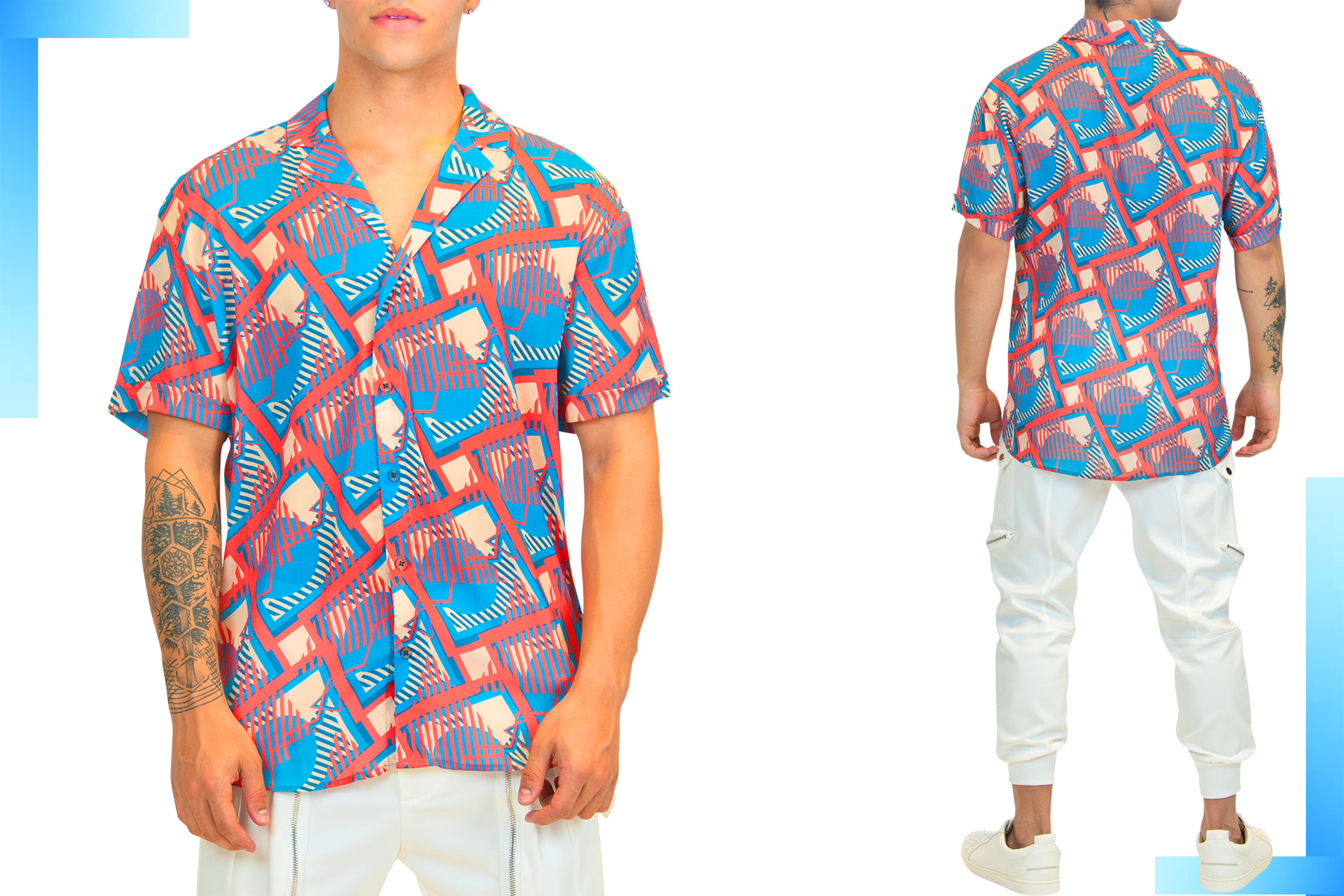 Red & Blue Print Short-Sleeve Men's Shirt | Men's Summer Short Sleeve Shirt | LEORICCI