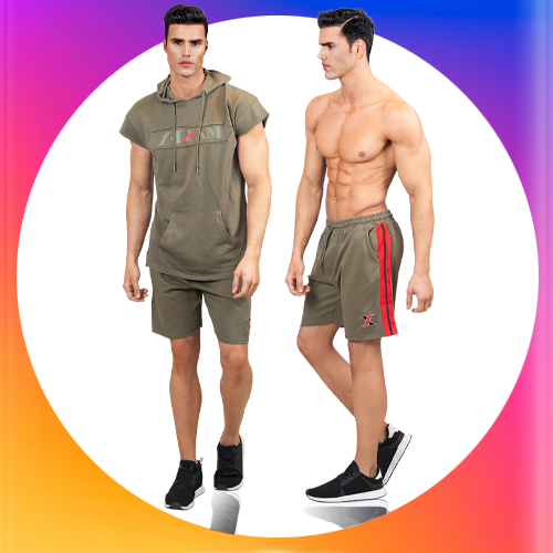 2 Piece Gym Set for Men | Army Green Sport Hoodie & Shorts for Men