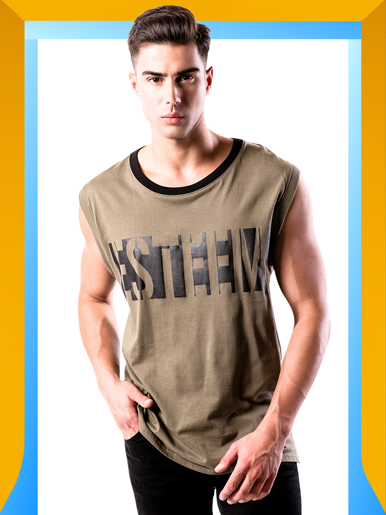 Shop Men's Army Green Tank Top | Workout Olive Green Tank Top for Men : ESTEEM | LEORICCI