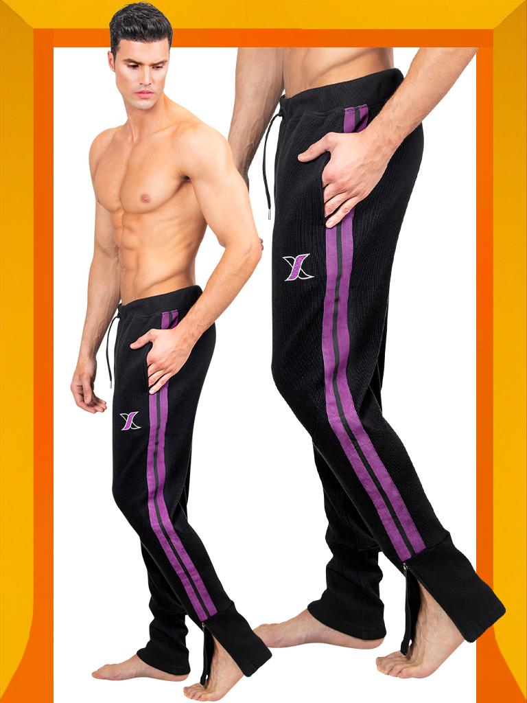 Shop Black Track Pants with Purple Side Stripe for Men | Men's Track Joggers | LEORICCI