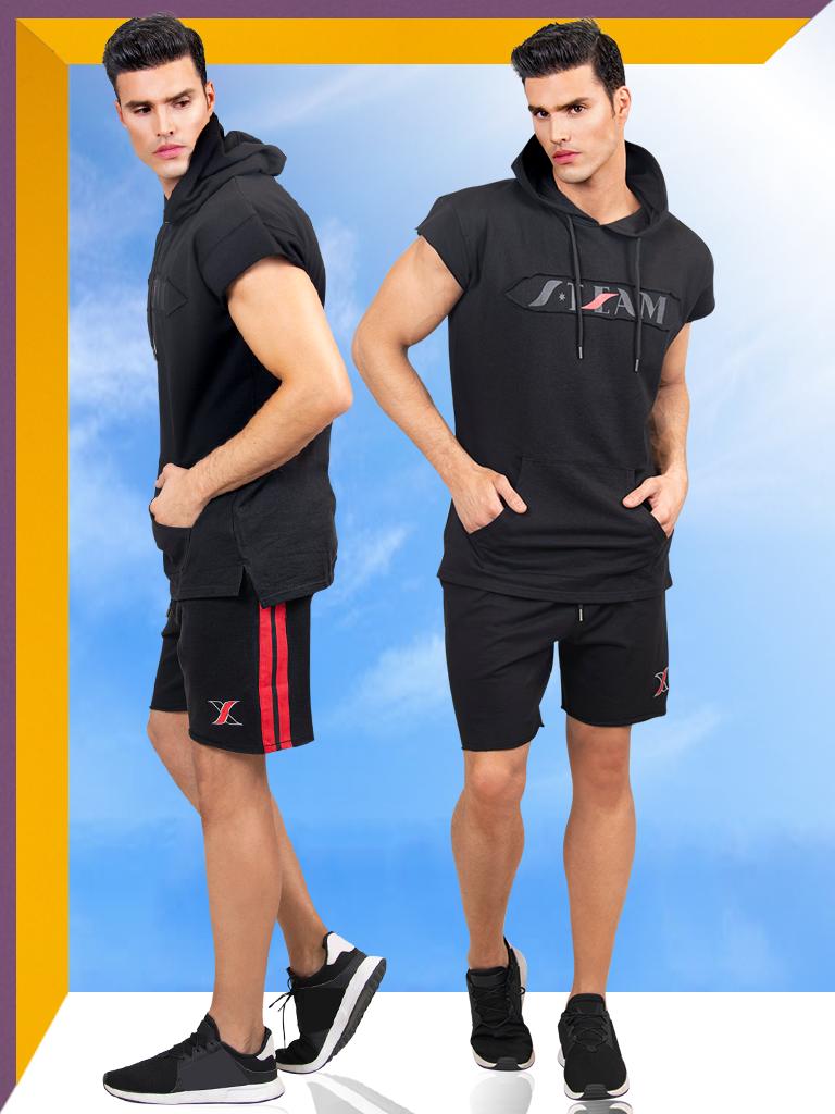 2 Piece Gym Set for Men | Black Sport Hoodie & Shorts for Men