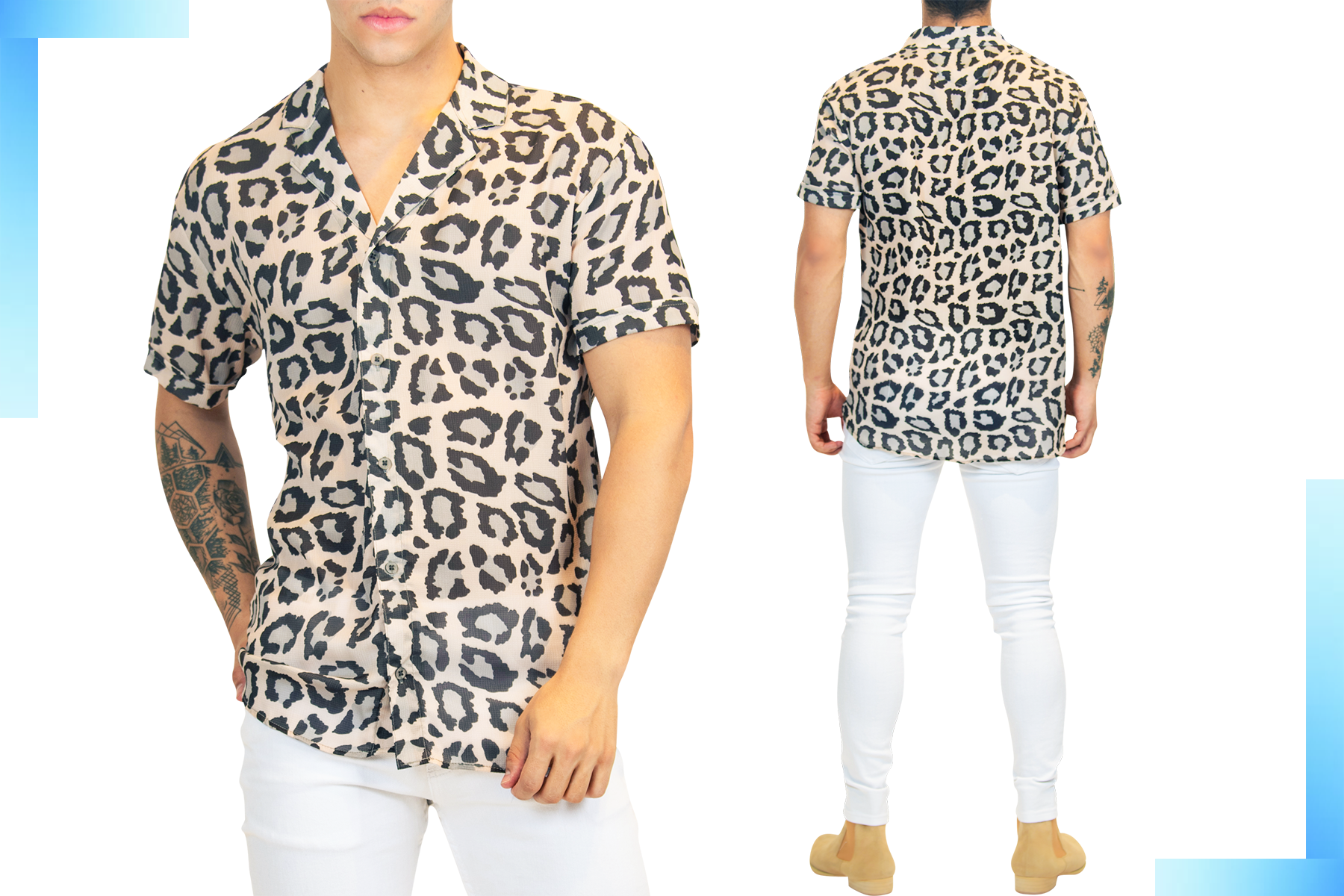Leopard Print Short-Sleeve Men's Shirt | Men's Summer Short Sleeve Shirt | LEORICCI