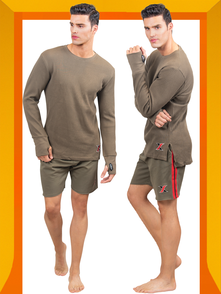 Shop Army Green cotton waffle Long-sleeve Thermal T-shirt with Matching Men's Running Shorts - Men's Thermal Underwear & Shorts 2 Piece Set