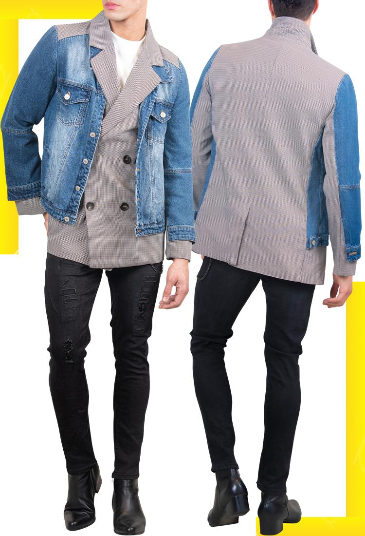 Double Breasted Denim Blazer   Men's Fashion   LEORICCI