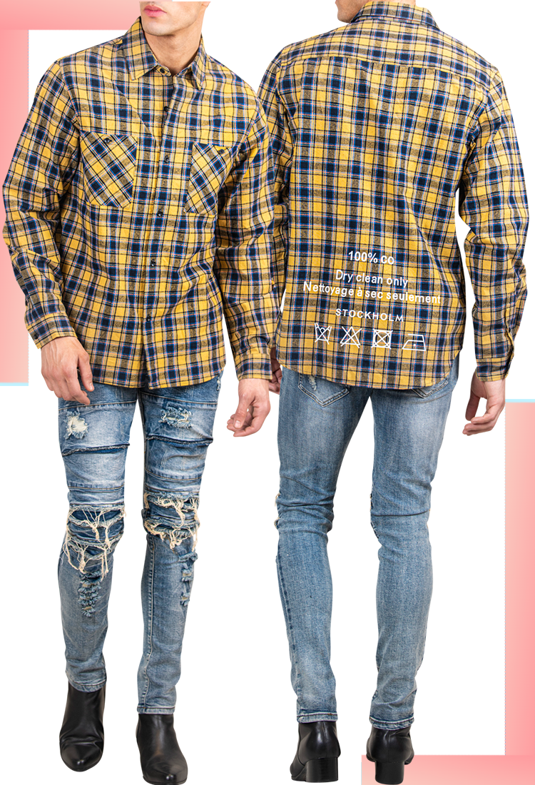 Men's Summer Plaid Shirt in Cyber Yellow | Men's Flannel | LEORICCI
