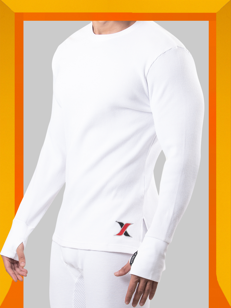 Shop White cotton waffle Long-sleeve Thermal T-shirt with Matching Long Johns Men's Leggings - Men's Thermal Underwear & Long Johns 2 Piece Set