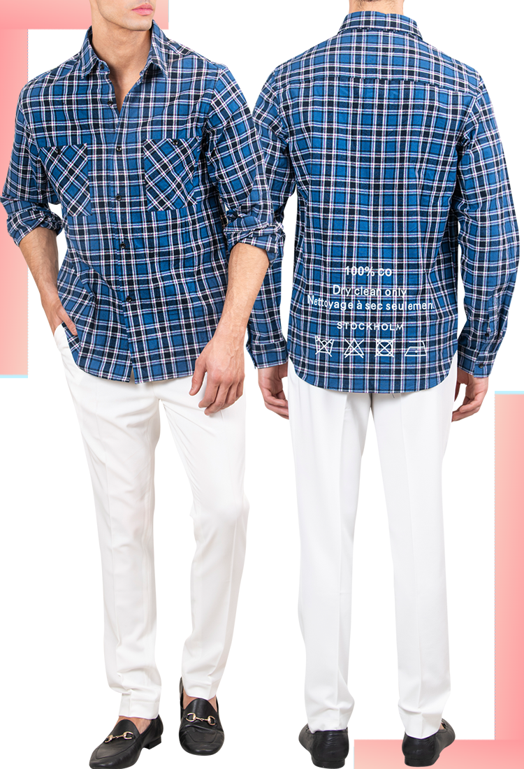 MEN'S SUMMER PLAID SHIRT IN BLUE | MEN'S FLANNEL | LEORICCI