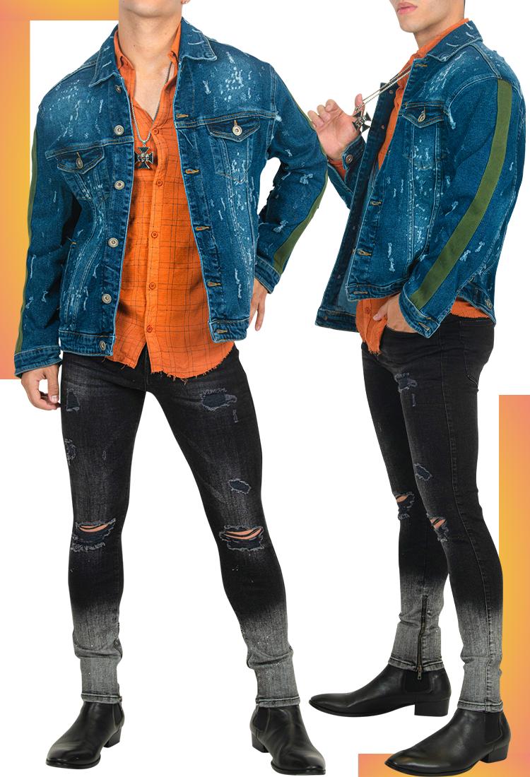 Distressed Blue Denim Jacket for Men   Men's Jean Jacket   LEORICCI