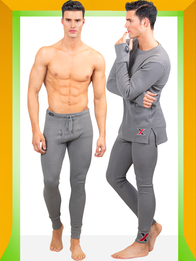 Shop Gray cotton waffle Long-sleeve Thermal T-shirt with Matching Long Johns Men's Leggings - Men's Thermal Underwear & Long Johns 2 Piece Set