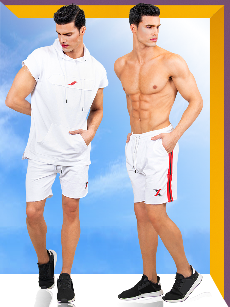 2 Piece Gym Set for Men | White Sport Hoodie & Shorts for Men