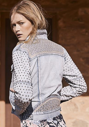 The Auguste Luca Studded Sleeve Jacket in Blue Washed Denim