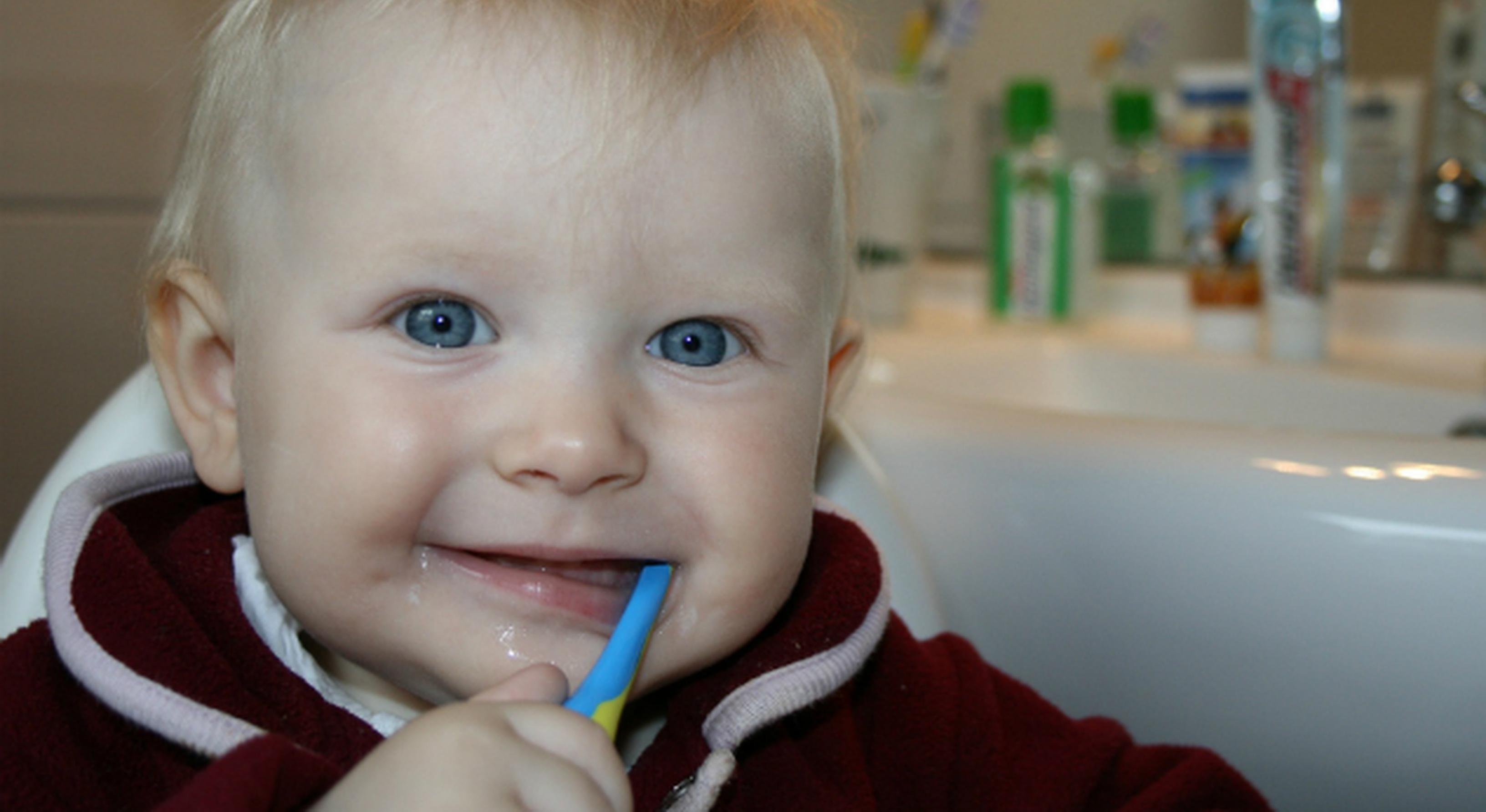 Smiling toddler brushing his teeth