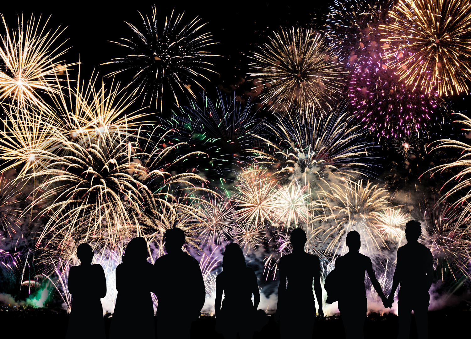 human sillouettes in front of firework show
