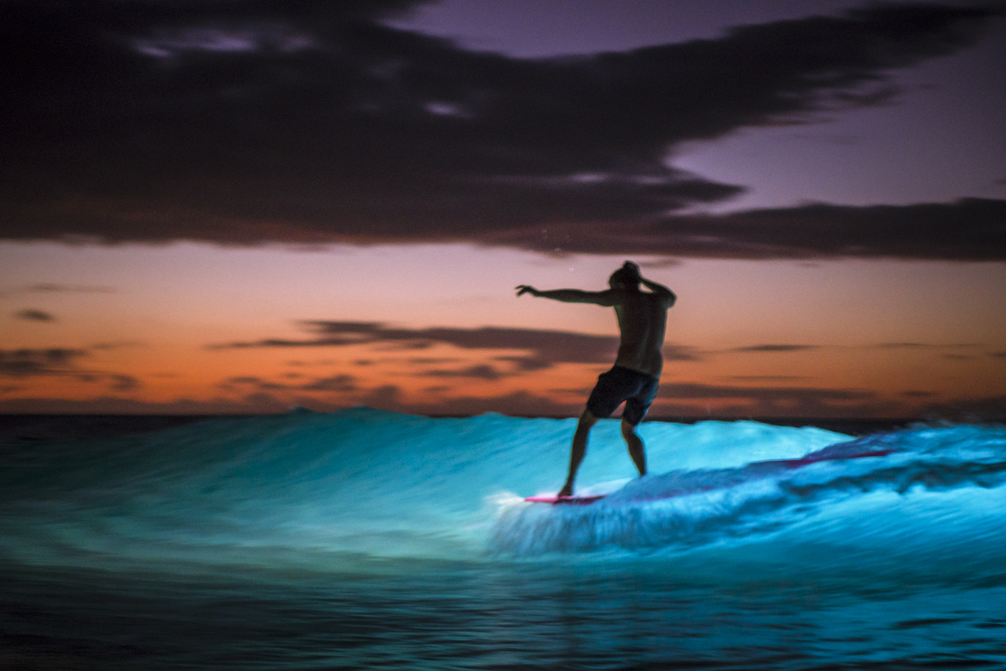 man surfing a wave at night lit by lume cube