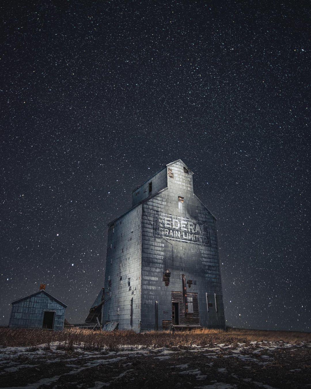 abandoned building under night sky