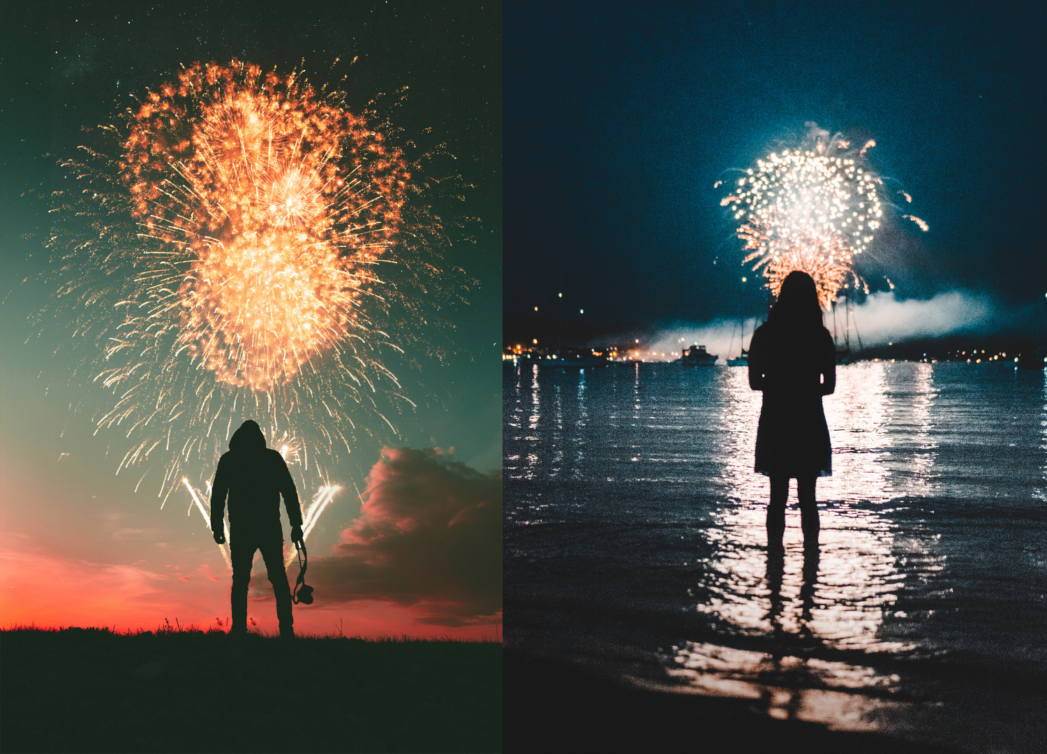 human sillouette standing in front of firework shot