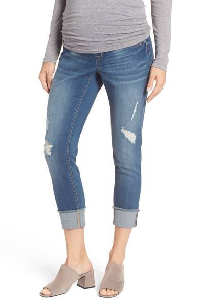 Nordstrom Destructed Maternity Crop Jeans
