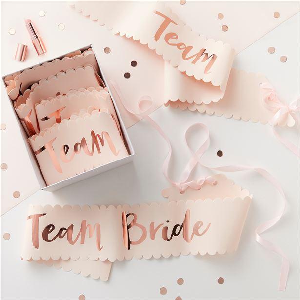 Rose Gold Team Bride Hen Party Sashes I Hen Party Inspiration I Make Memento