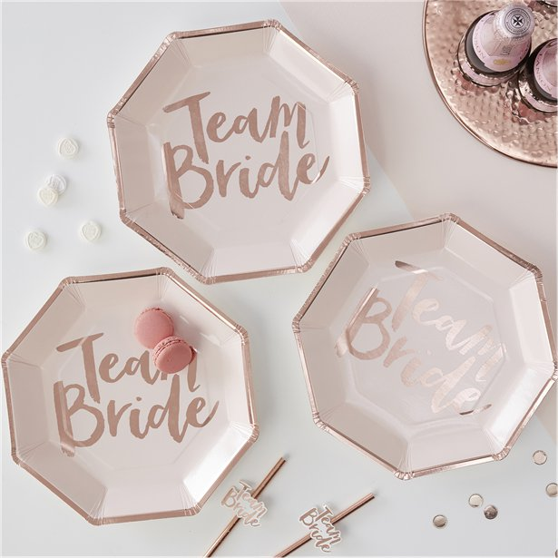 Rose Gold Team Bride Party Plates I Hen Party Inspiration I Make Memento