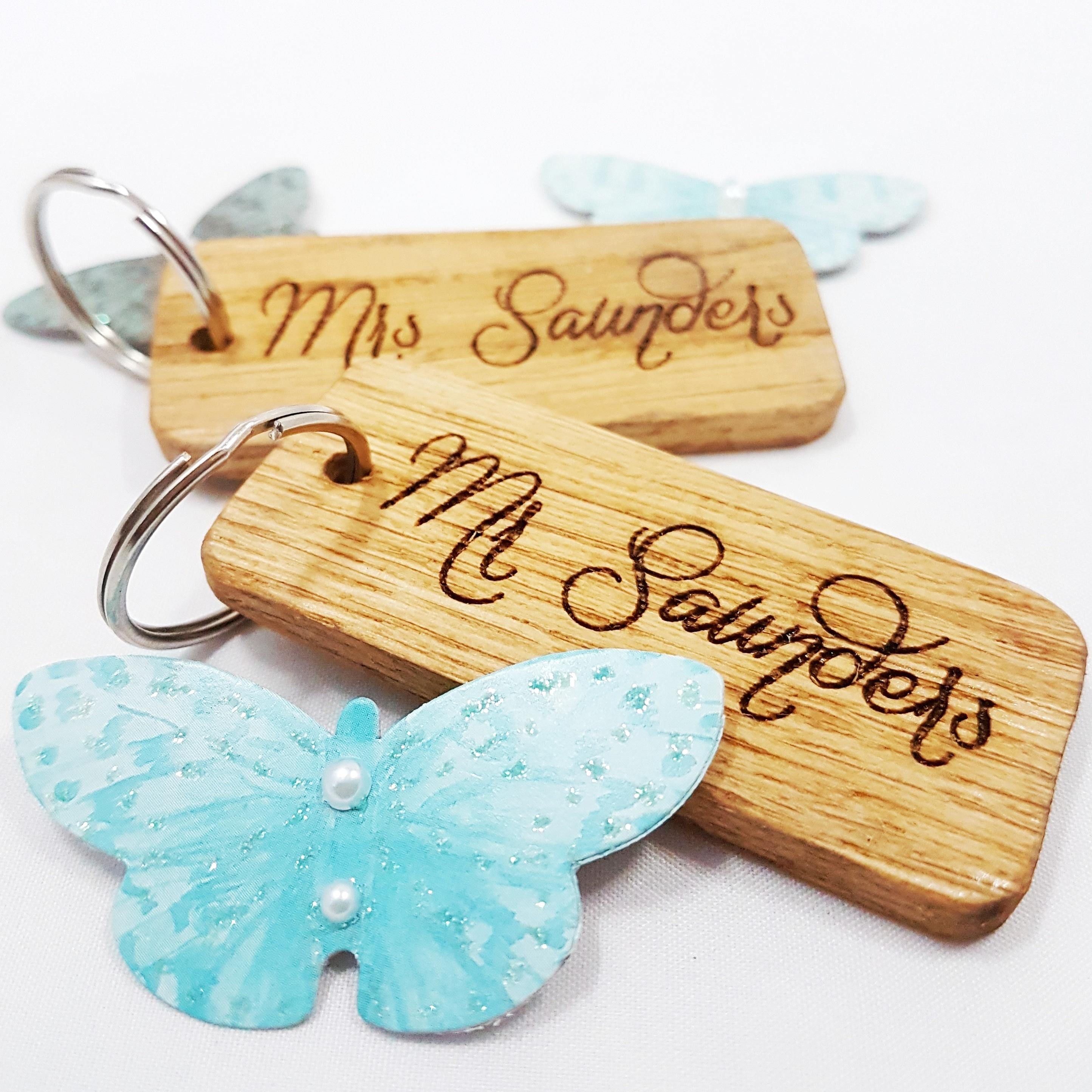Personalised Mr & Mrs Wooden Keyring Set I Anniversary Gift Ideas I Make Memento