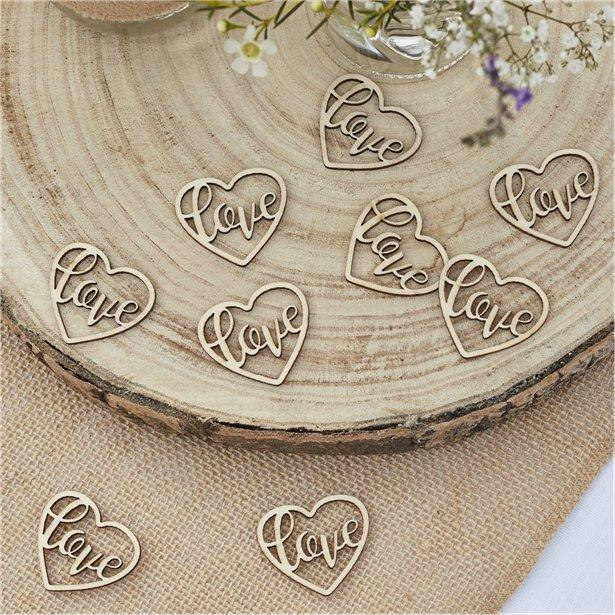 Rustic Wood Love Wedding Table Confetti