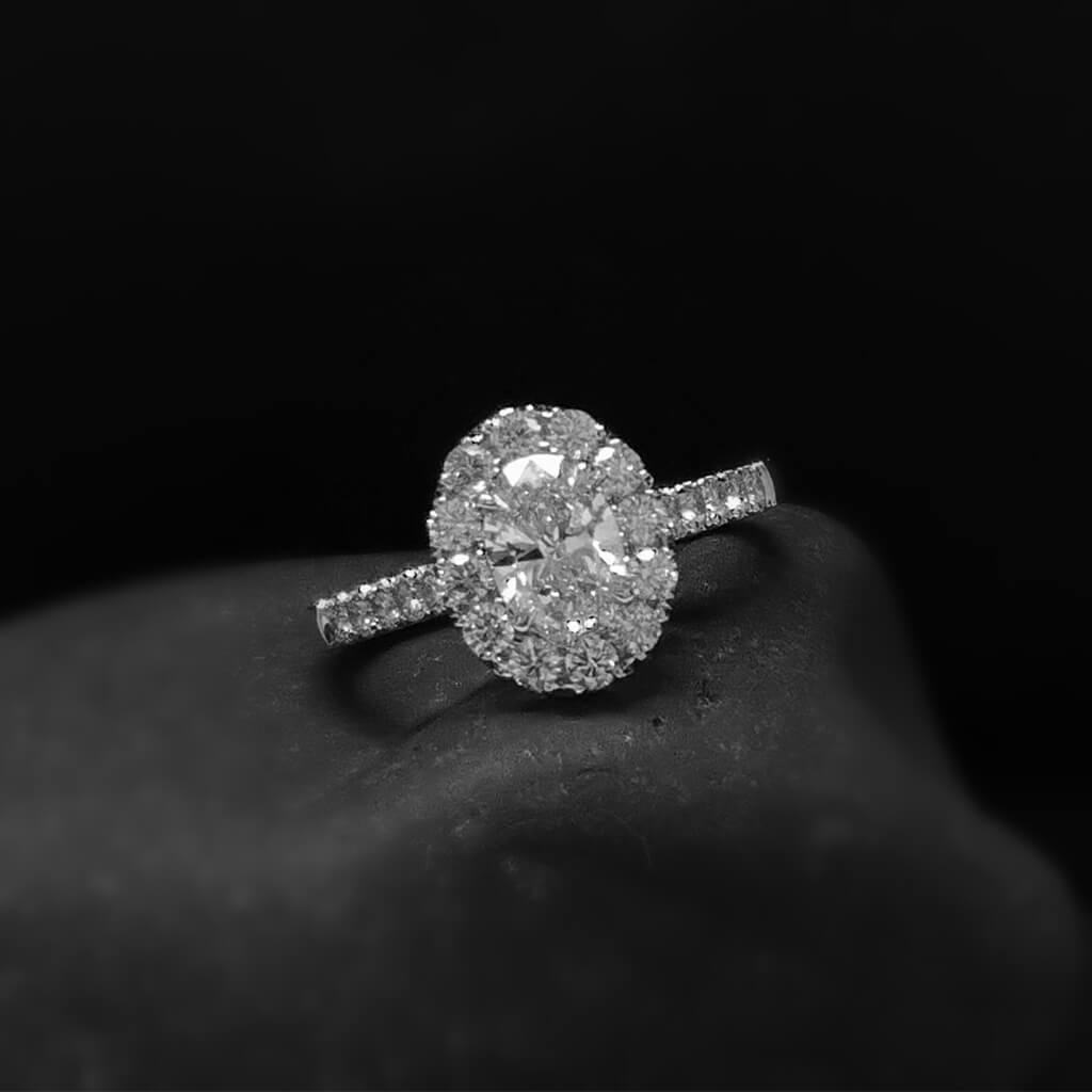 Lab created oval diamond engagement ring by mcguire diamonds