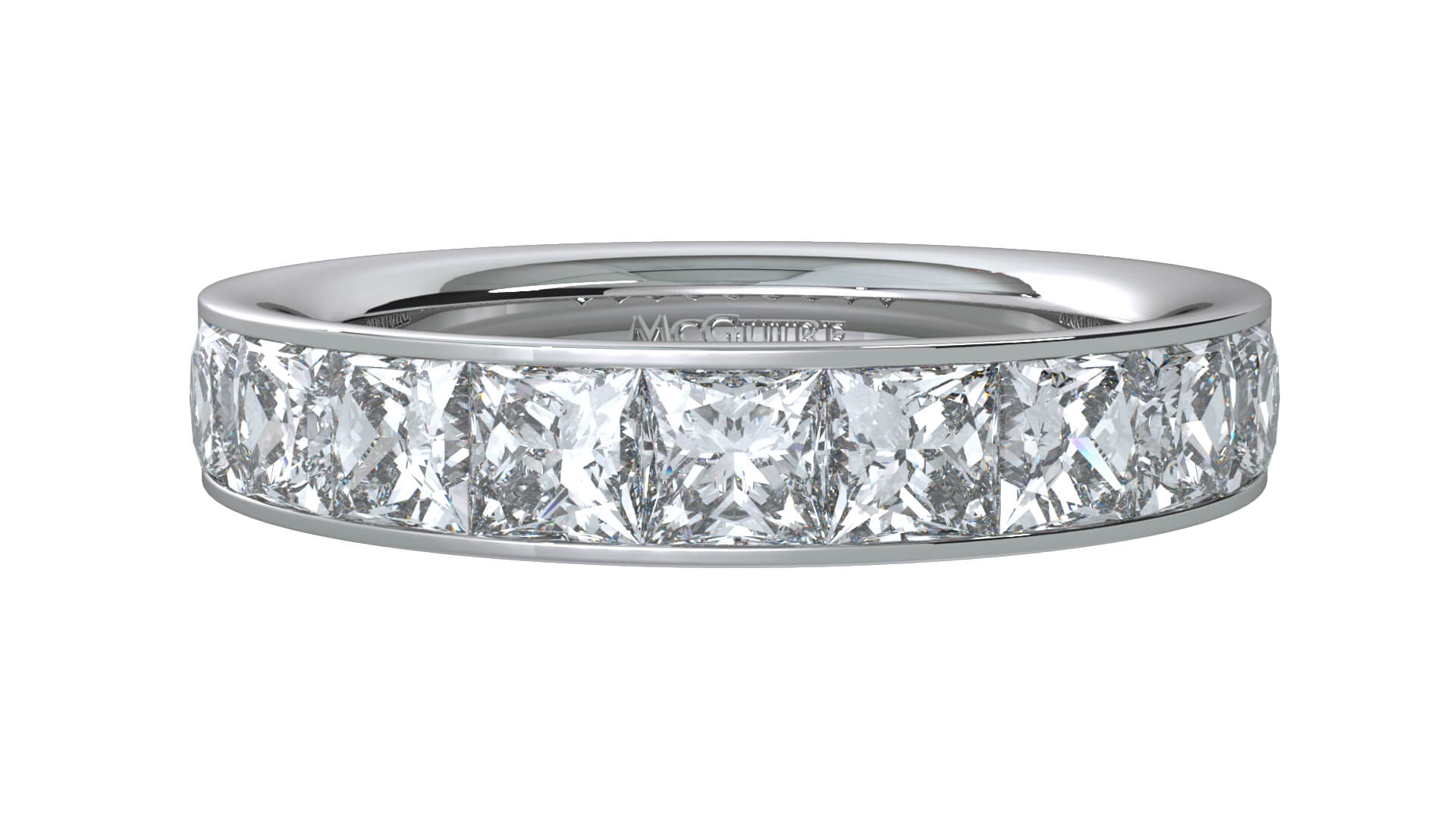 platinum diamond set wedding ring with square diamonds