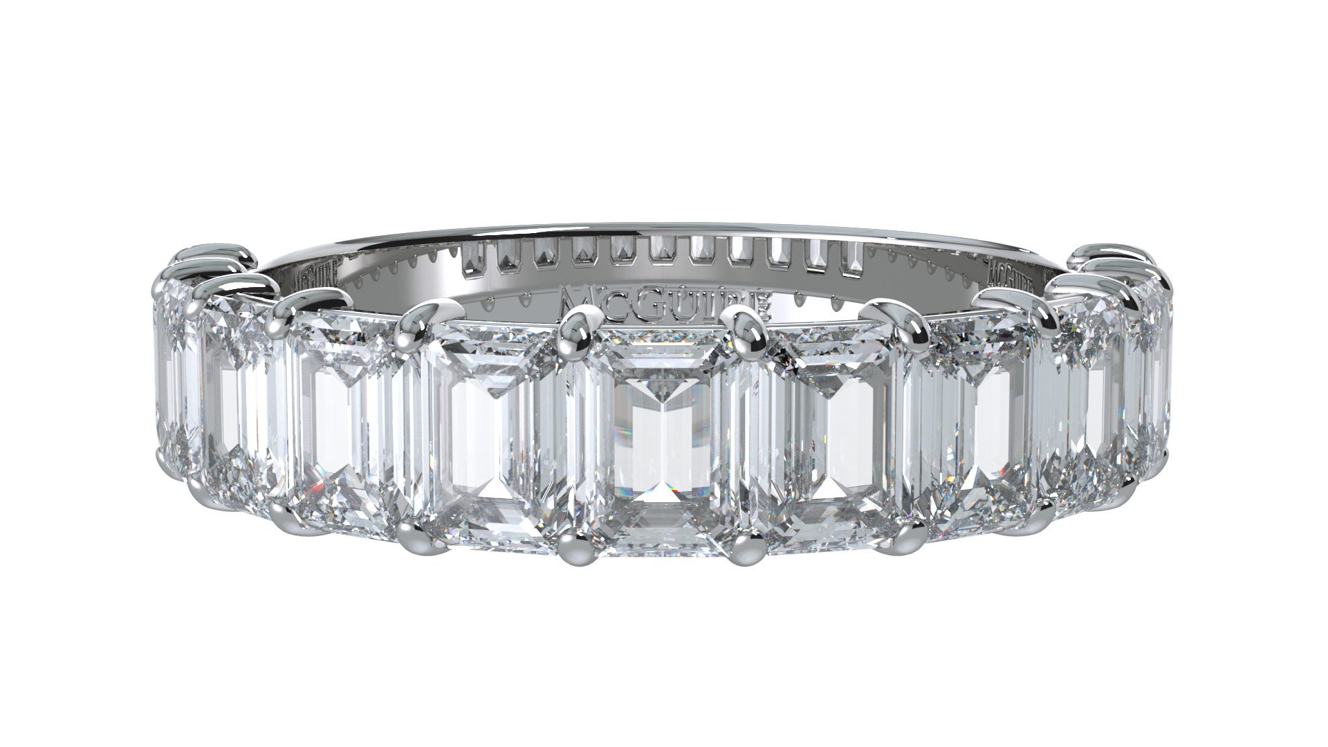 White gold emerald cut eternity ring