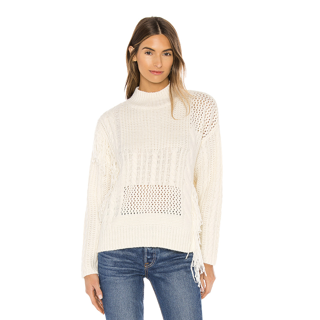 line and dot distressed sweater