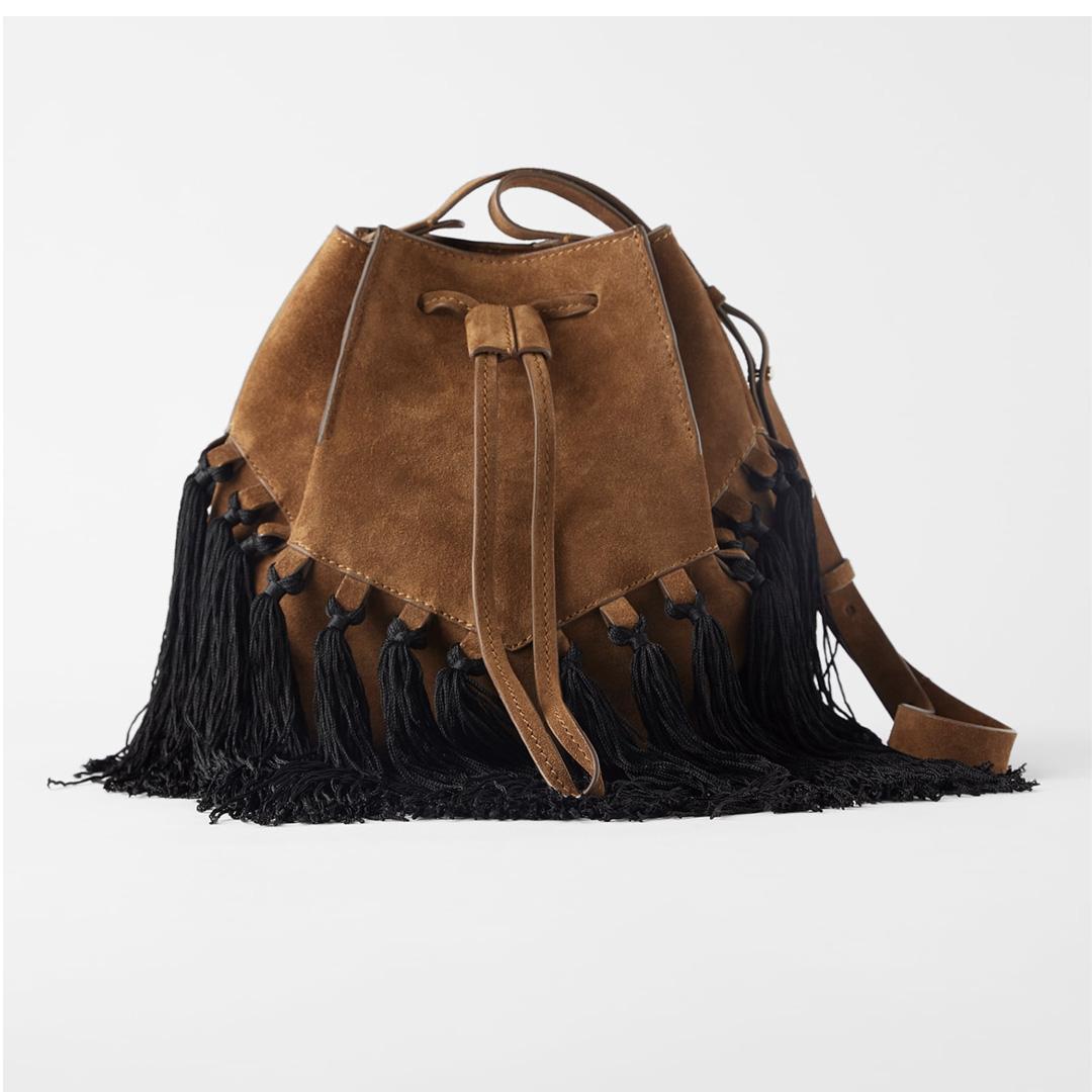 Zara fringe bucket bag