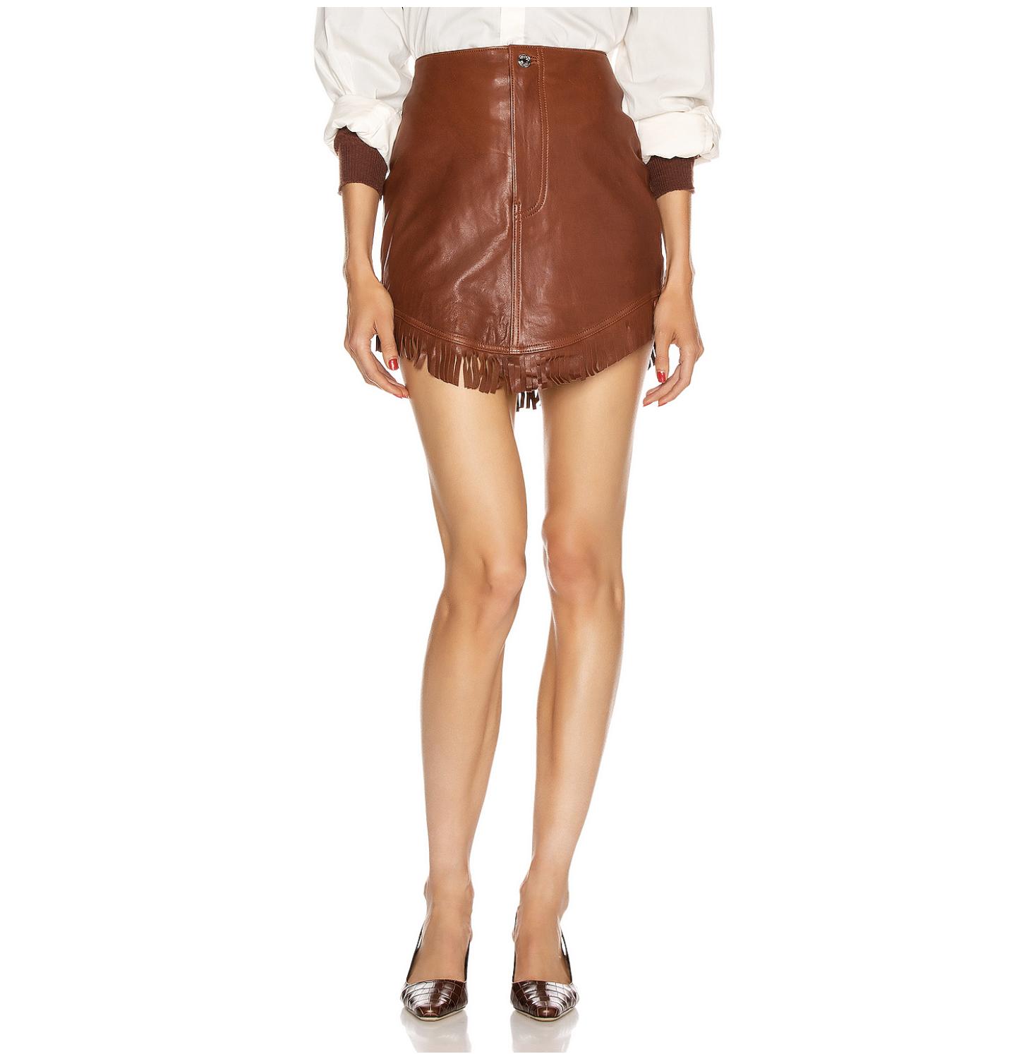 grlfrnd fringe leather skirt