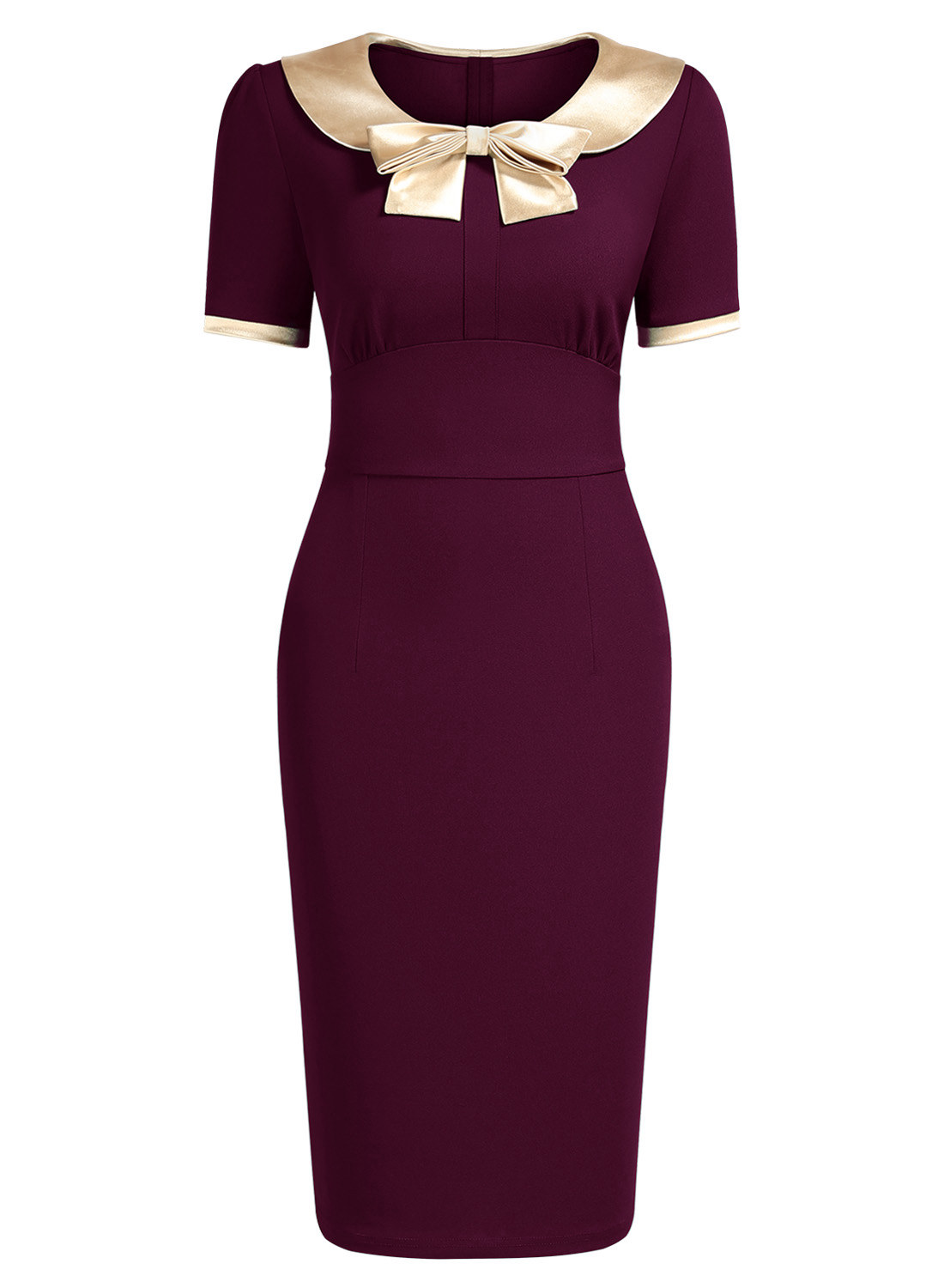 Golden Bow Contrast Color Wiggle Dress