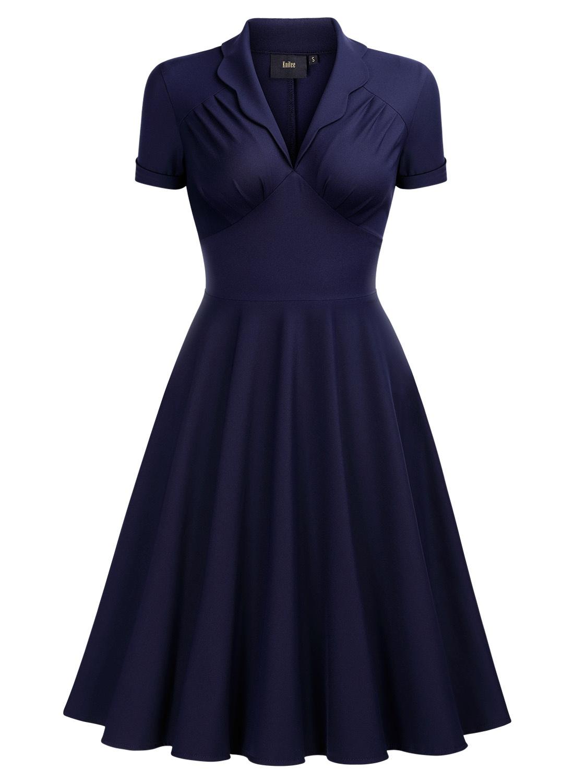 French Collar Swing Dress