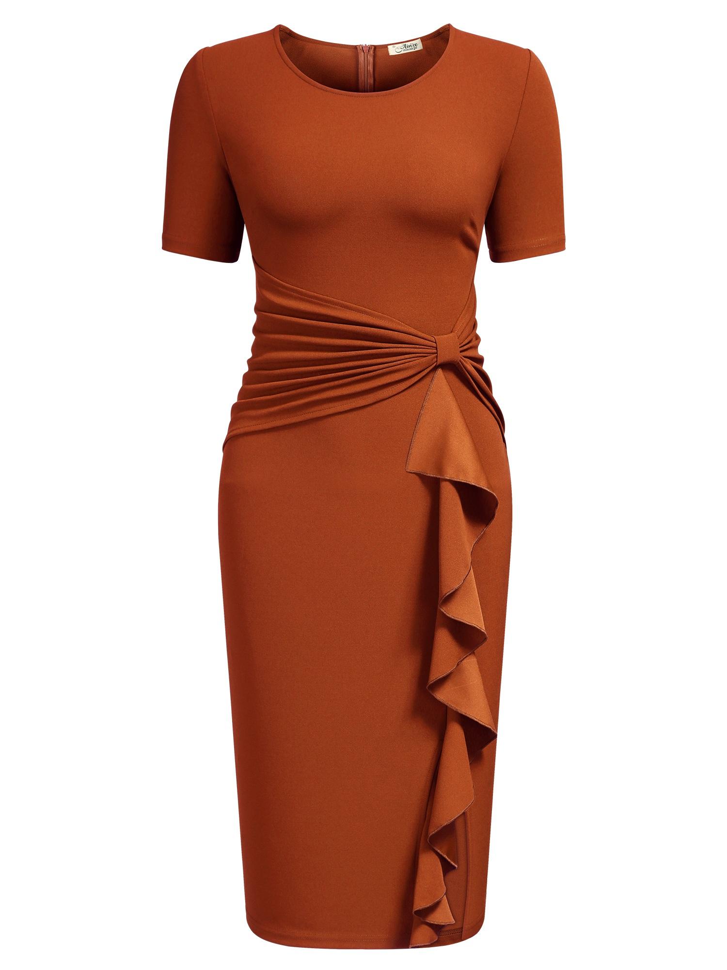 Ruffle Draped Cocktail Knee Dress