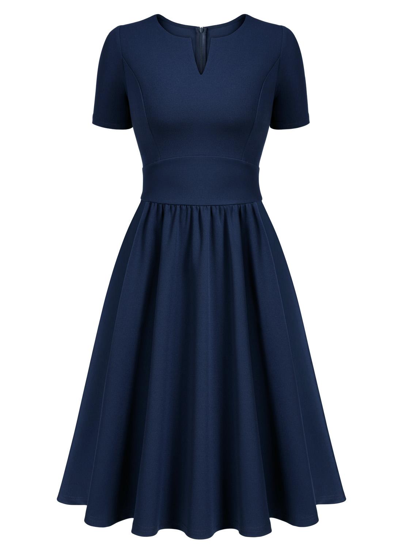 1950s V-Neck Swing Cocktail Dress