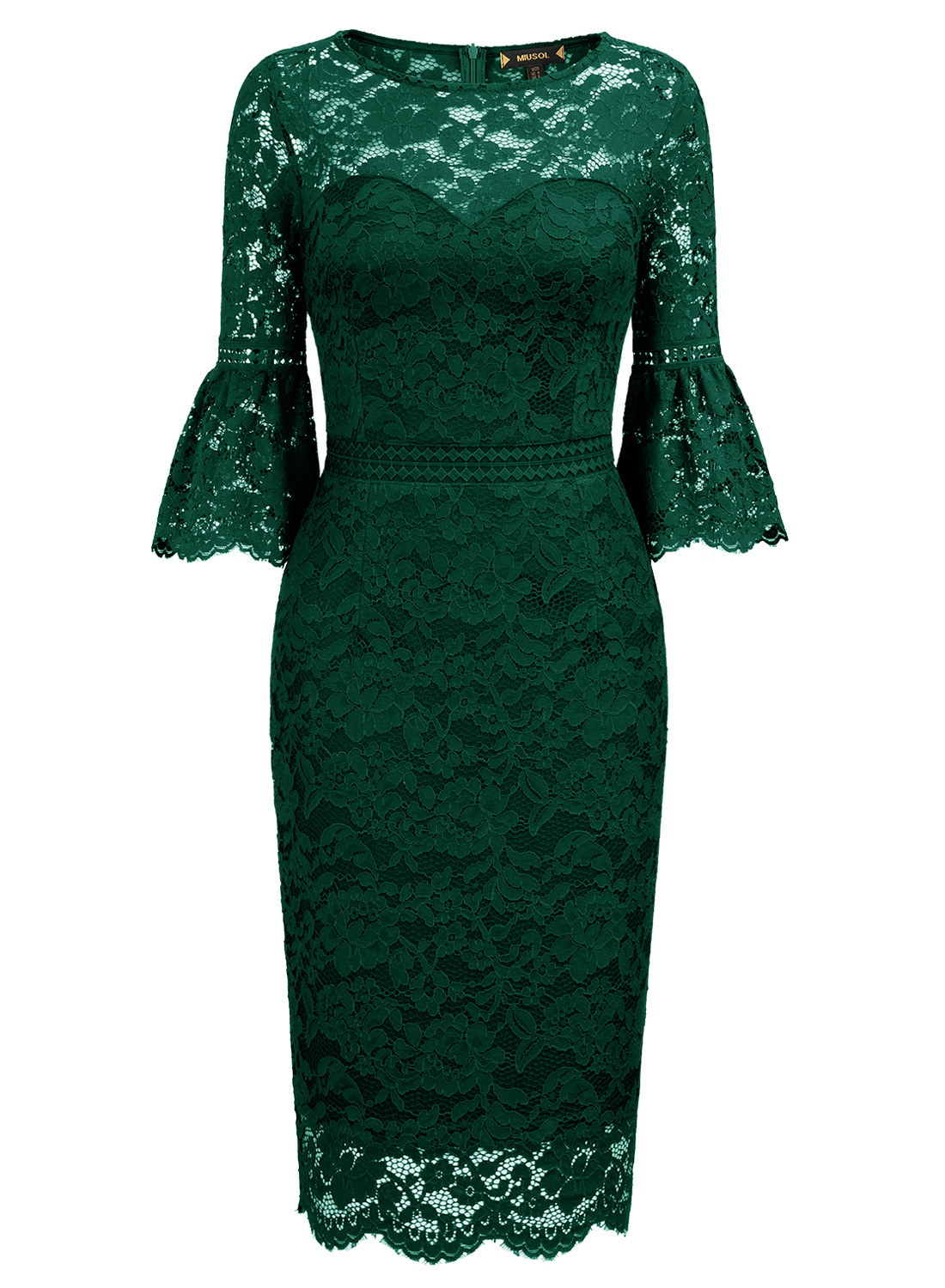 Middle Sleeve Ruffle Lace Bodycon