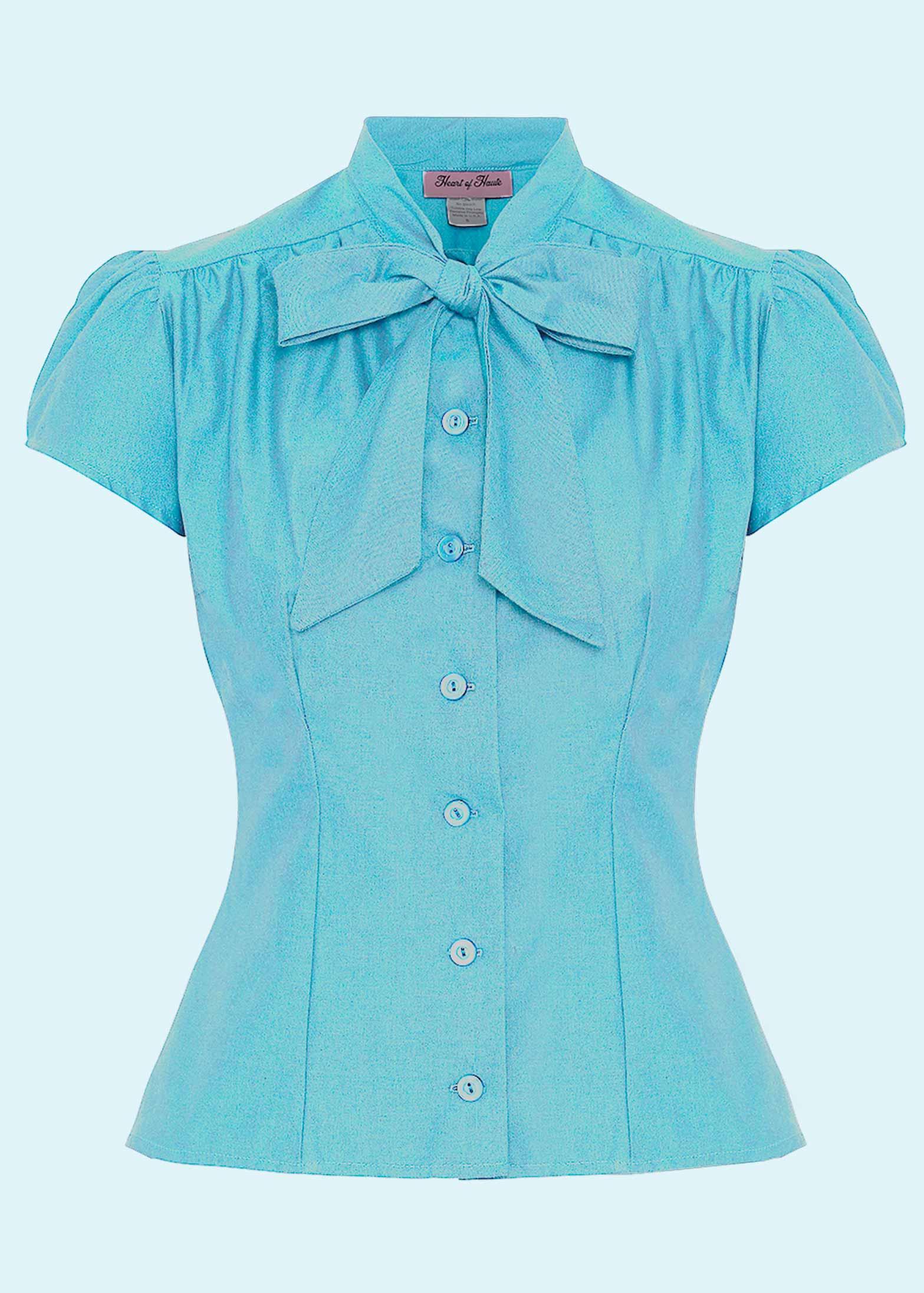 """Estelle skjorten med """"pussy bow"""" i lys blå fra Heart Of Haute"""