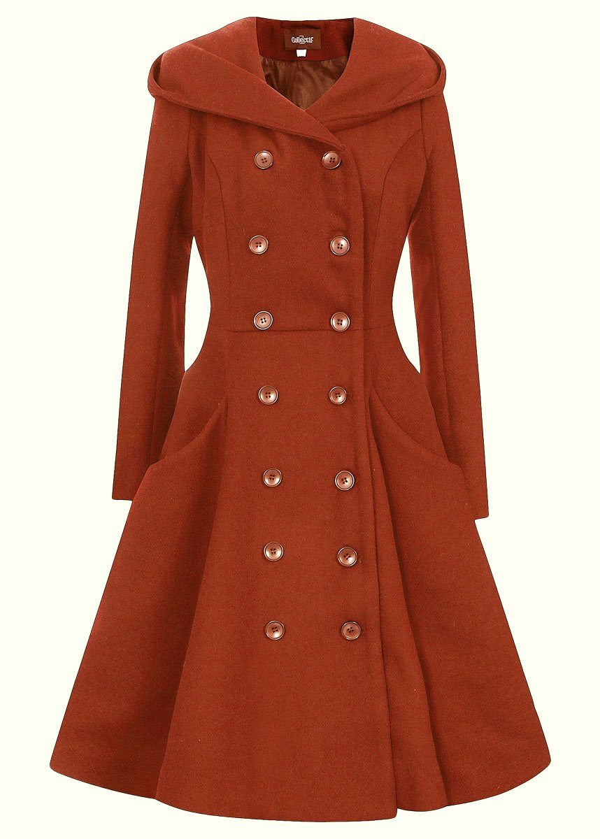 Orange vintage frakke med hætte