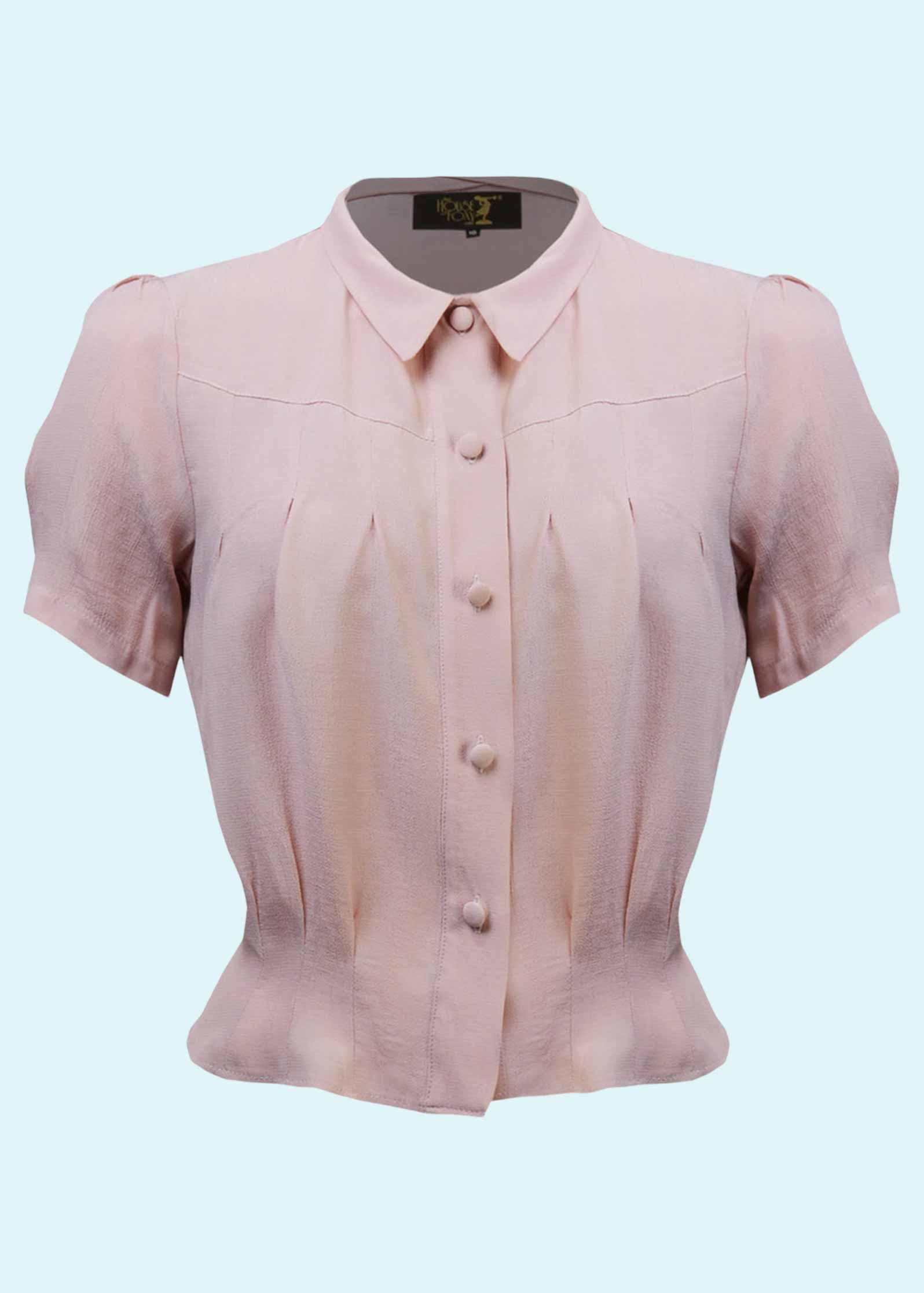 Vintage stils rosa skjorte med korte ærmer
