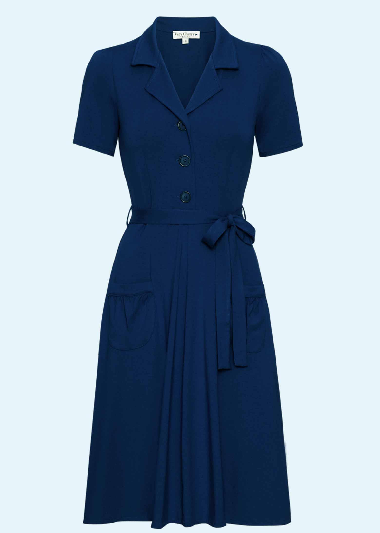 Klassisk navy blå skjortekjole fra Very Cherry